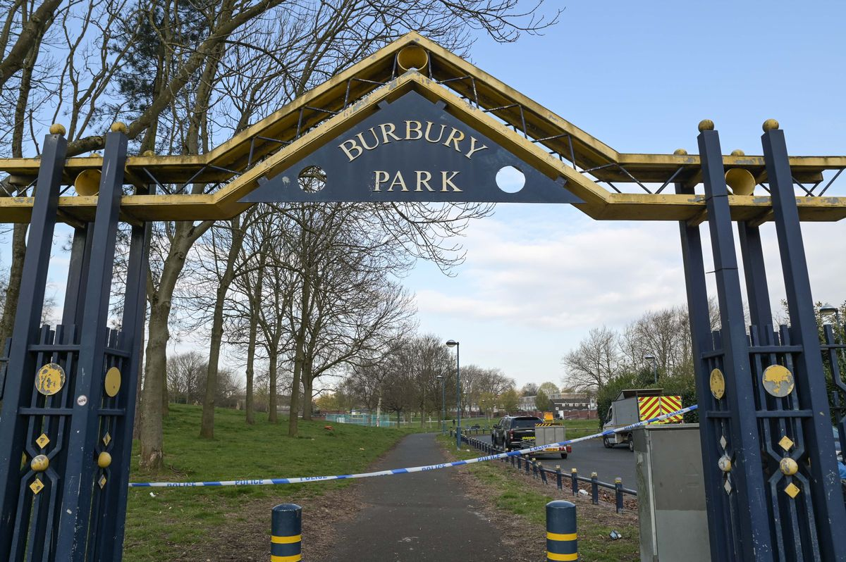 Burbury Park was cordoned off on Wednesday morning. Photo: SnapperSK