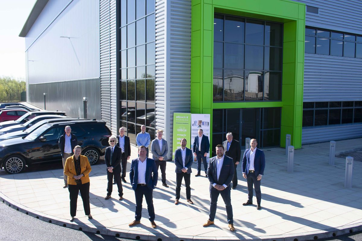 Front row, right to left; Jon Robinson (Barberry), Bob Clarke (Allpack) and Louise Brooke-Smith (GBSLEP) Second row: Marcus Clarke (Allpack), Henry Bellfield (Barberry) and Eric Henderson (Staffordshire County Council). Third Row: Jim Clarke (Allpack), George Clarke (Allpack), Richard James-Moore (JLL), Jon Mott (Barberry), Nick Oakley (FDC) and Kevin Zamur (Benniman).