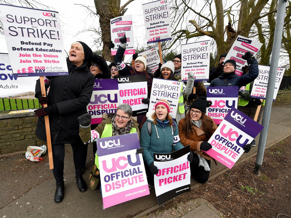 Members of the University and College Union (UCU) on strike outside City of Wolverhampton College in their fight for fair pay