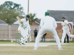 NORTH COPYRIGHT SHROPSHIRE STAR JAMIE RICKETTS 19/06/2021 - Cricket - Wem CC (Batting) vs Wolverhampton CC (Fielding) at Wem. In Picture: Matt Cohen batting from Wem.