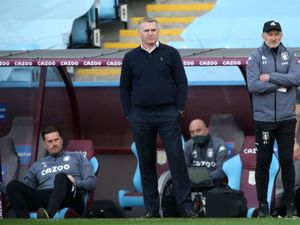 """Aston Villa manager Dean Smith during the Premier League match at Villa Park, Birmingham. Picture date: Sunday April 4, 2021. PA Photo. See PA story SOCCER Villa. Photo credit should read: Nick Potts/PA Wire.   RESTRICTIONS: EDITORIAL USE ONLY No use with unauthorised audio,  video, data, fixture lists, club/league logos or """"live"""" services. Online in-match use limited to 120 images, no video emulation. No use in betting, games or single club/league/player publications."""
