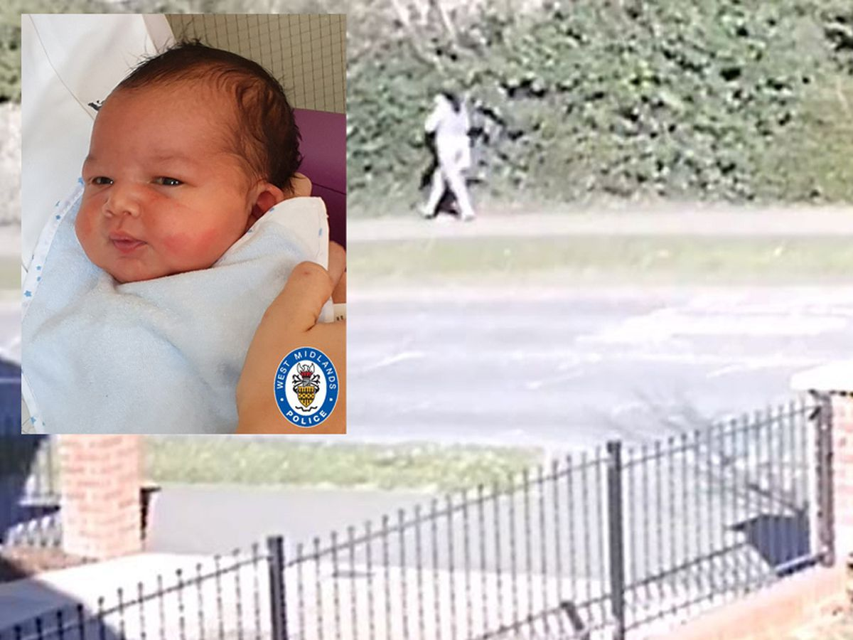 Baby George and a CCTV image of a woman police want to speak to