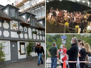 Queues for coronavirus testing after a coronavirus outbreak at the Crown & Anchor pub. Crowds had gathered in the beer garden the week before, pictured top right by Ayrron Robinson