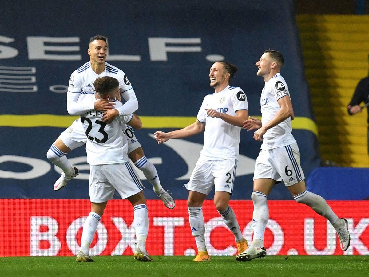 Leeds United's Rodrigo (top left) celebrates