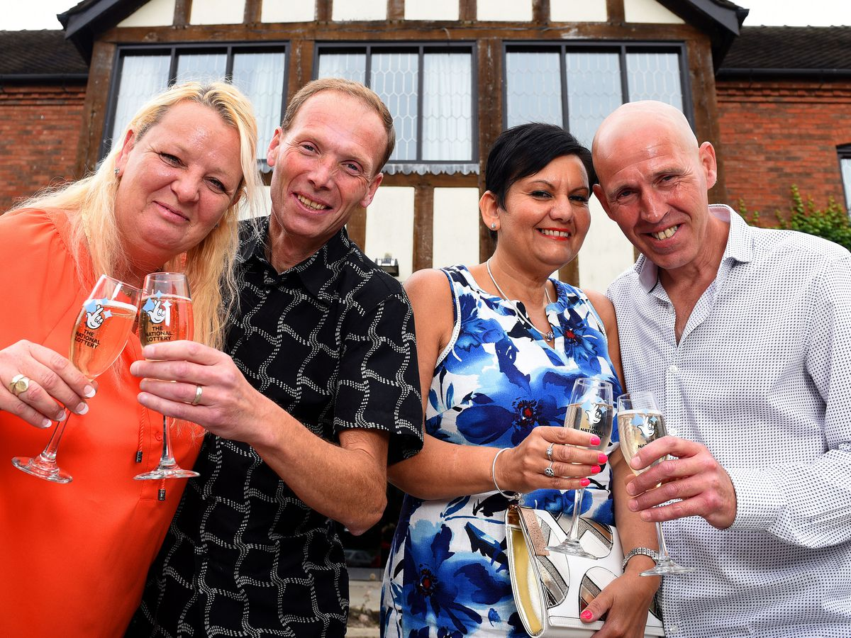 Euro lottery winners Denise and Stuart Powell, and Amanda and Barry Lewis, who all live just a few miles apart.