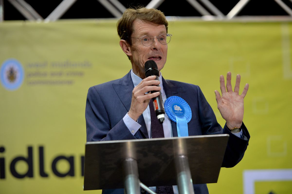 Andy Street gives his speech after being re-elected.
