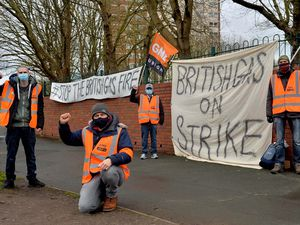 British Gas workers protesting in Stourbridge about new contracts being forced upon them. L-R: Russell, Stuart, Paul and Adam