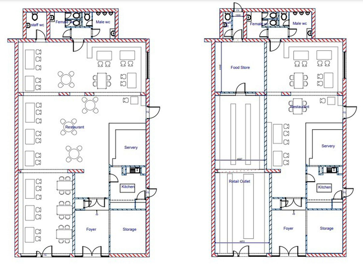 Plans showing how the Voujon Lounge in Darlaston will change from the current layout (left) to the new one with a shop. PIC: DPM Services
