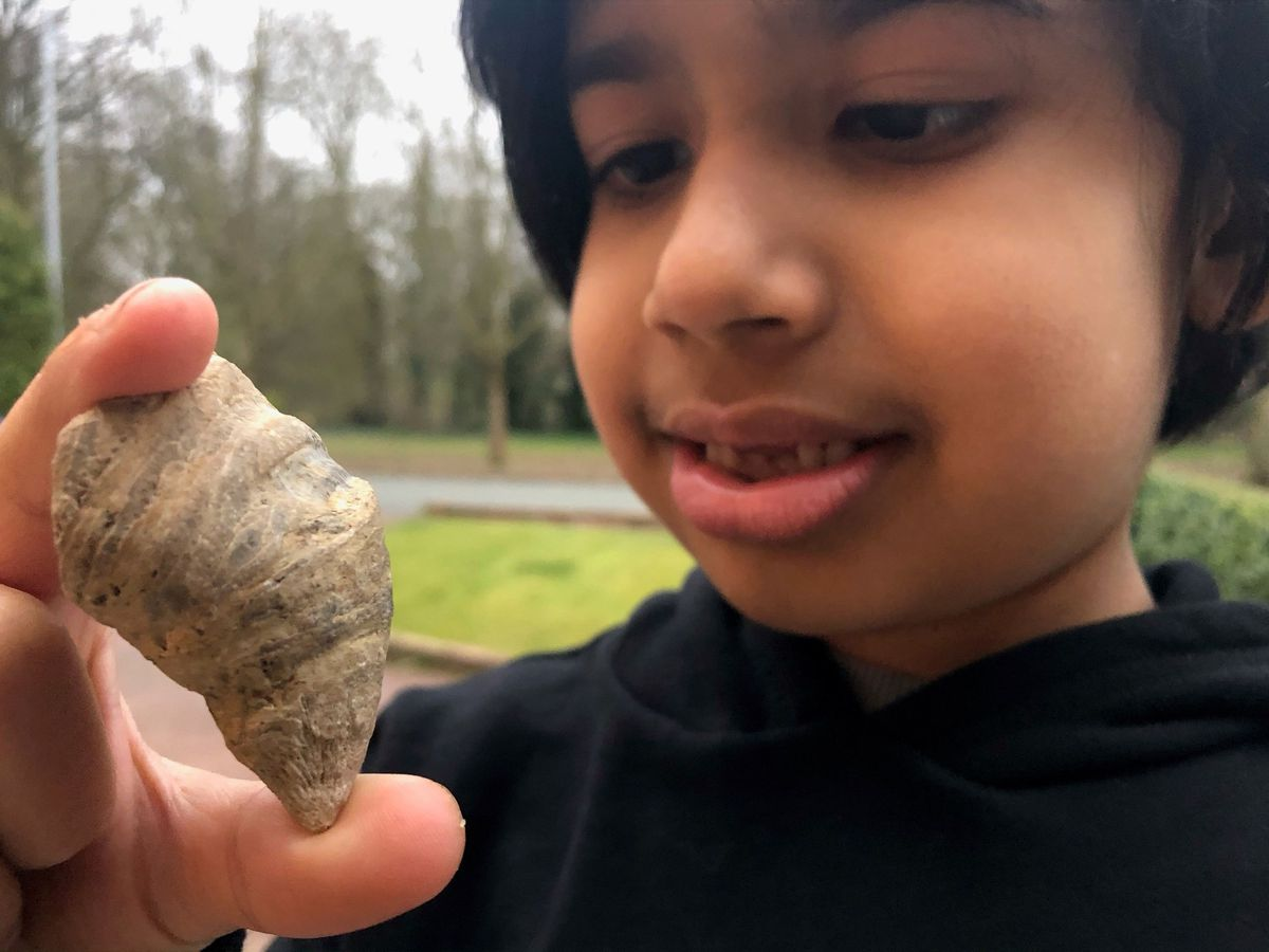 Six-year-old Siddak Singh Jhamat with the fossil he found in Walsall