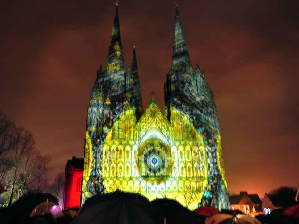 Lichfield Cathedral lit up in annual display