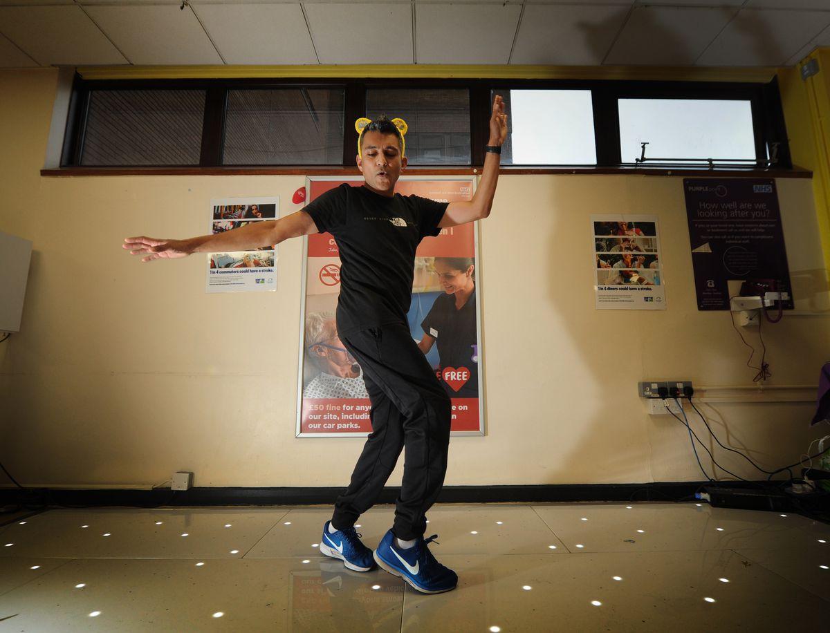 Dr Nick Makwana dances at Sandwell Hospital