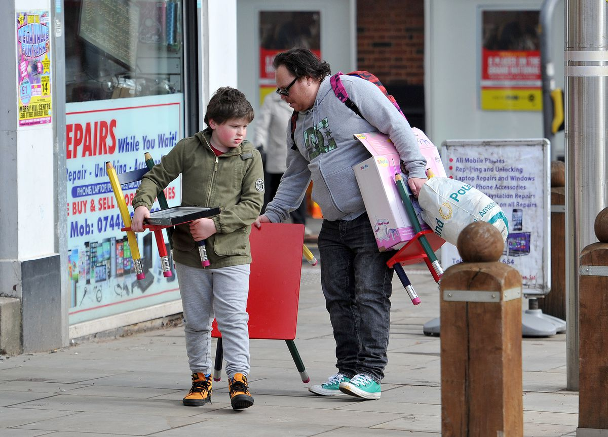 Shoppers in Dudley town centre today