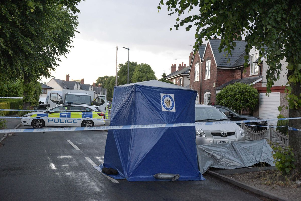 The scene in St Johns Road, Oldbury, where two cars were involved in a shooting. Photo: SnapperSK