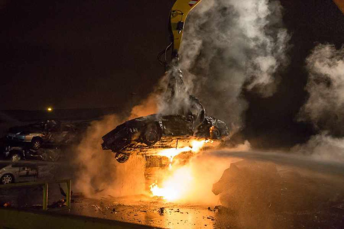 PICTURES and VIDEO: Over 30 firefighters battle huge blaze at Wolverhampton scrapyard