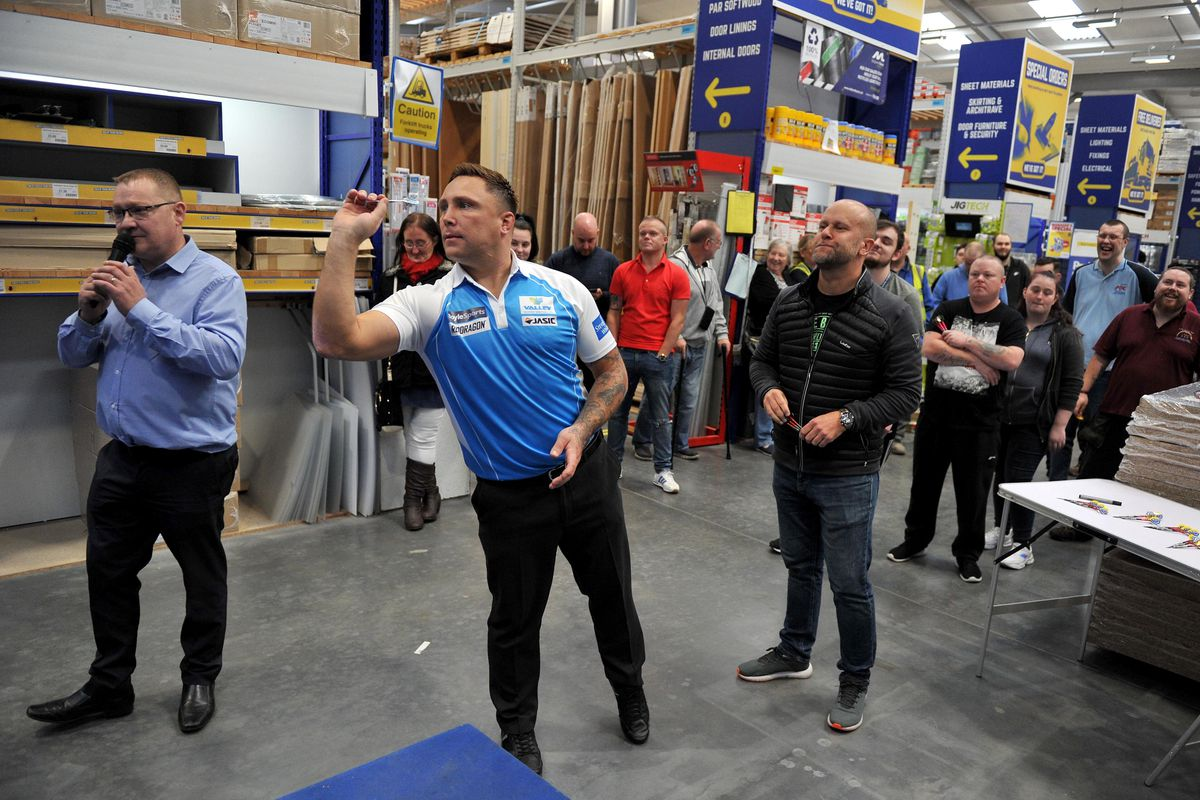 Darts player Gerwyn Price who has been at Selco in Wolverhampton ahead of the darts competition taking place