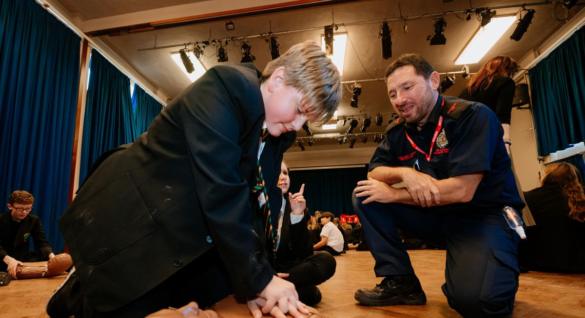 Student Max Finazzi, 12, with Dave Fitton of Albrighton and Cosford First Responders