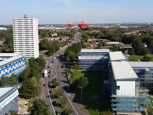 An air ambulance hovers above Wednesfield Road. Photo: @legendkiller2k8