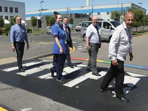 The newly-painted zebra crossing at New Cross Hospital