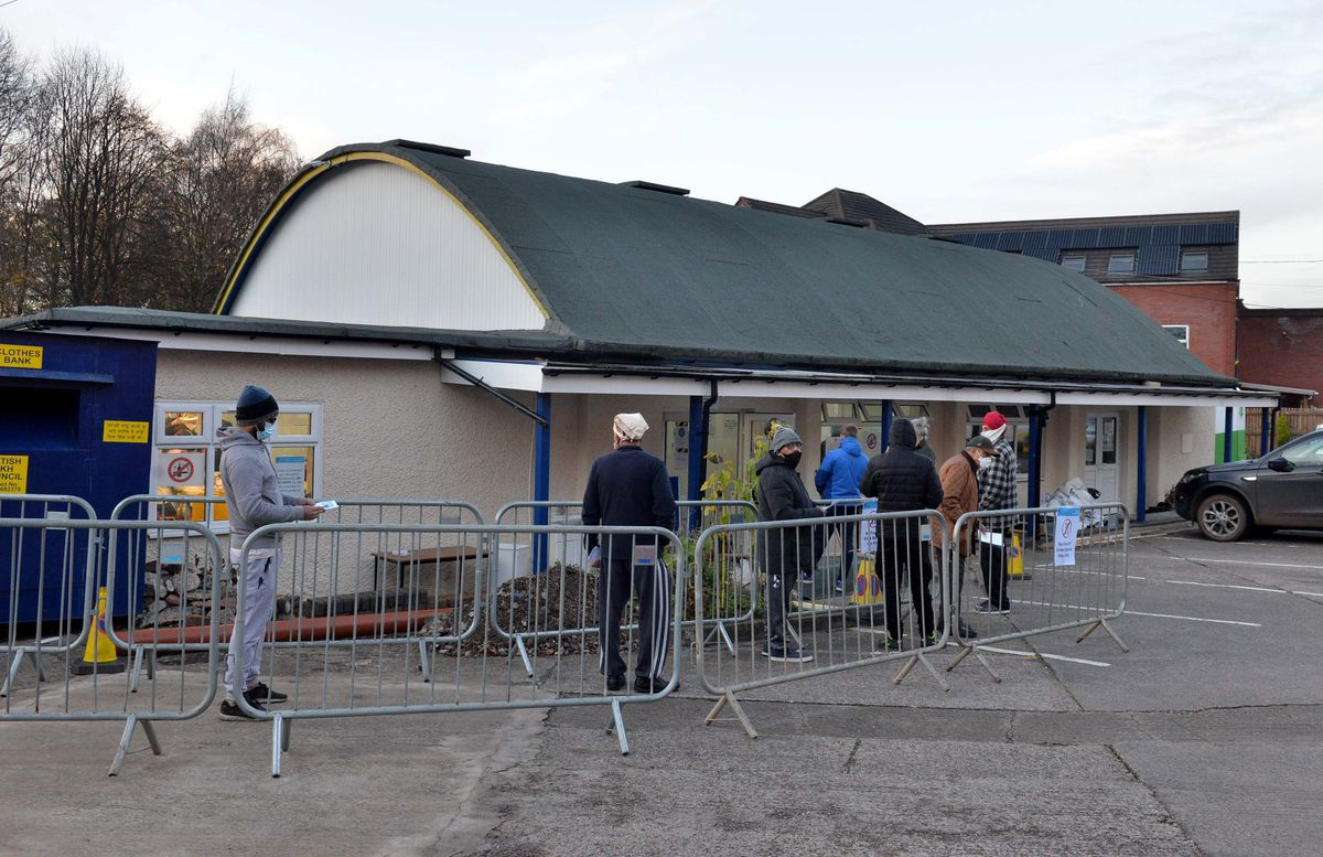 The testing site at the Sedgley Street temple opened yesterday afternoon after a delay