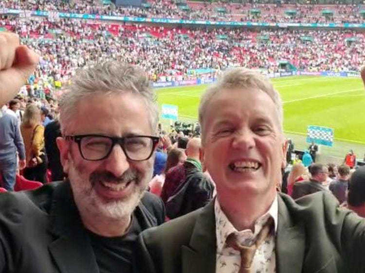 Comedians David Baddiel and Frank Skinner celebrating England's victory over Germany