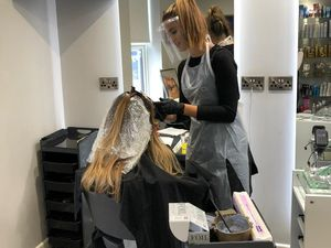L&J Hair staff training to work safely wearing visors. Pic: Joyce Hunt