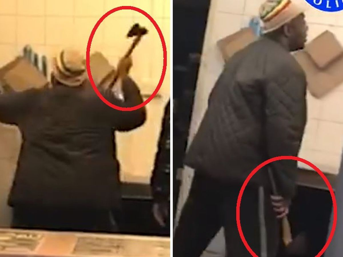 CCTV shows the man wielding the axe at Palash Balti