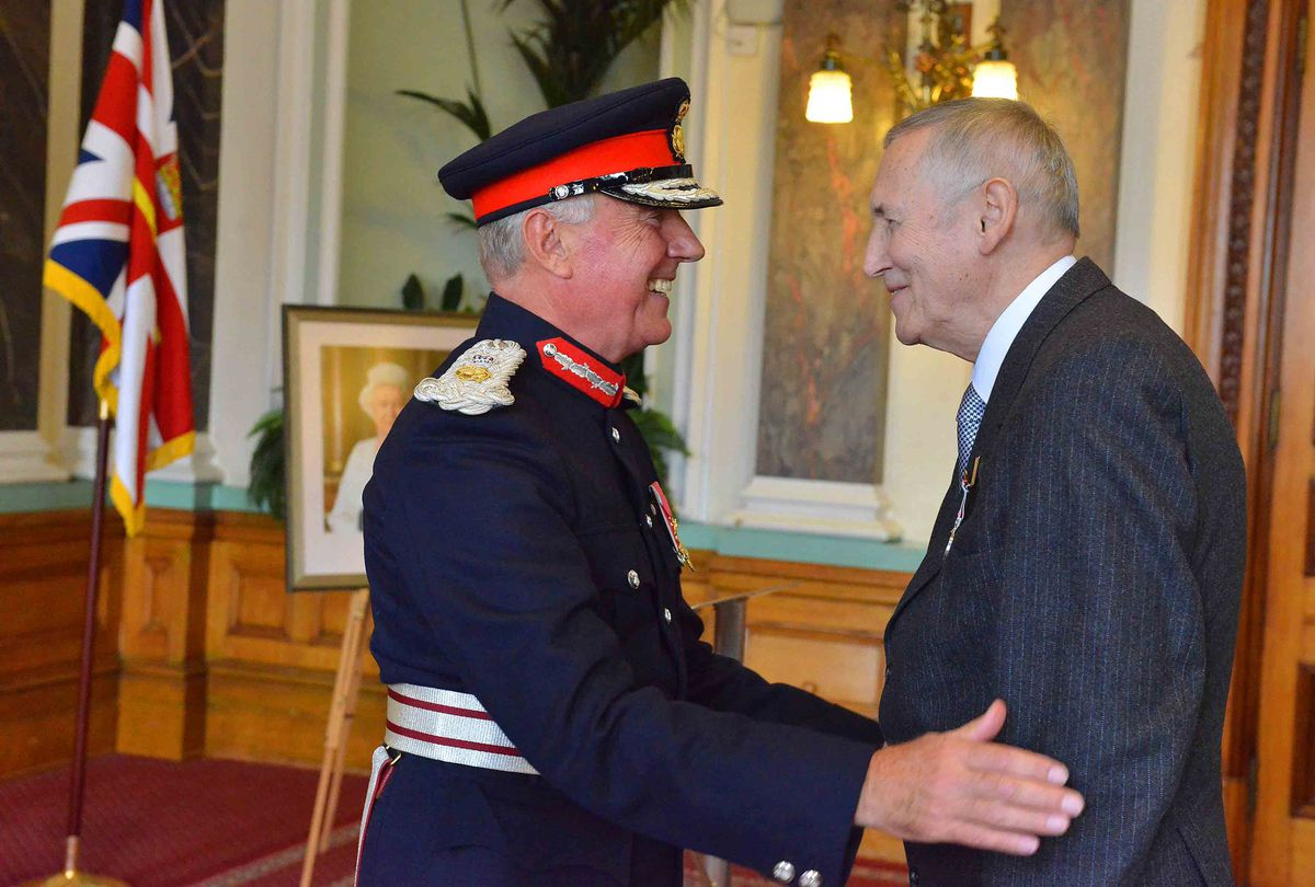 Terry Price receiving his BEM at Birmingham Council House