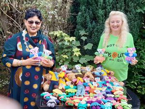 Sylvia is pictured with the latest teddy delivery from Semma Kazmi of the Rotary Club of Bursley