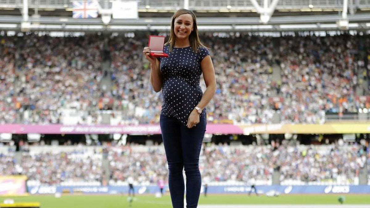 Jessica Ennis-Hill after receiving the gold medal for the heptathlon