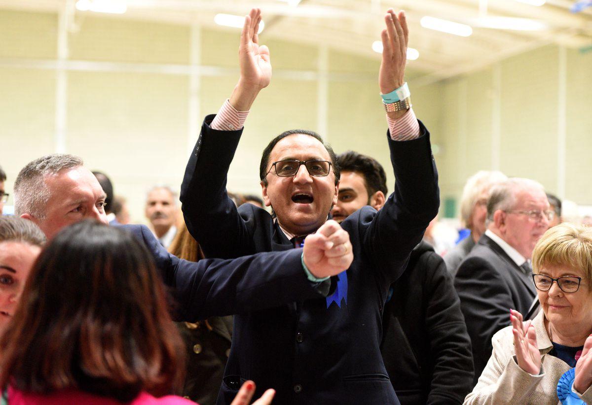 Waheed Rasab celebrates holding onto his Paddock ward