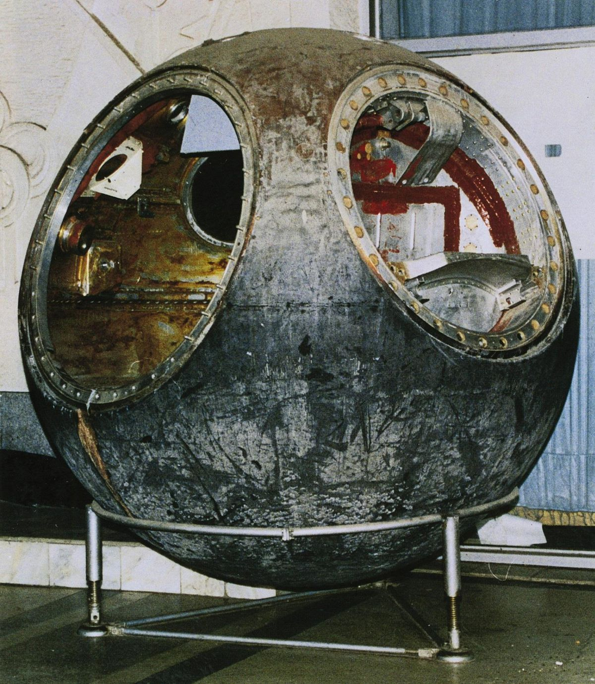 The Vostok 3KA-2 space capsule, flown with the cosmonaut-mannequin Ivan Ivanovich on March 25, 1961, in the final test mission before Yuri Gagarin's first manned space flight
