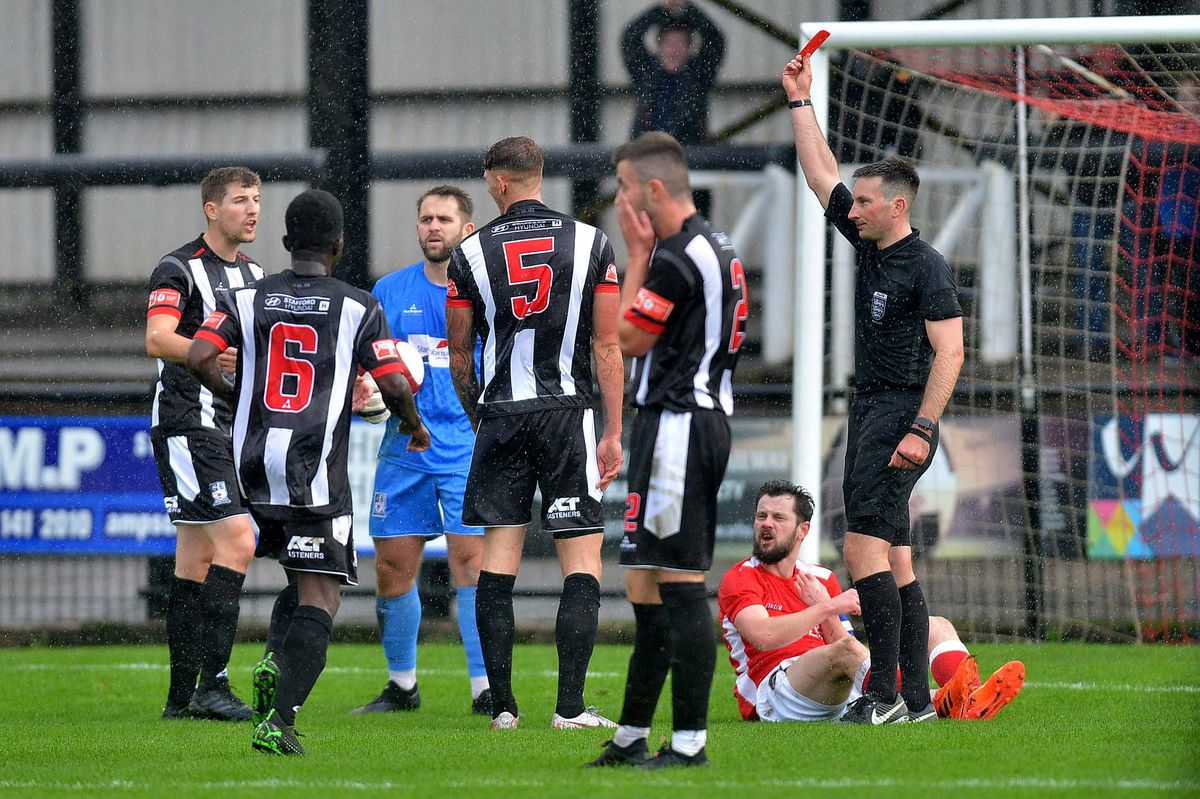 Daniel Burns gets sent off for penalty against Tom Pratt..