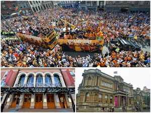 Thousands turned out in Queen Square for Wolves promotion parade and, below, two well-known city attractions, the Grand Theatre and Art Gallery