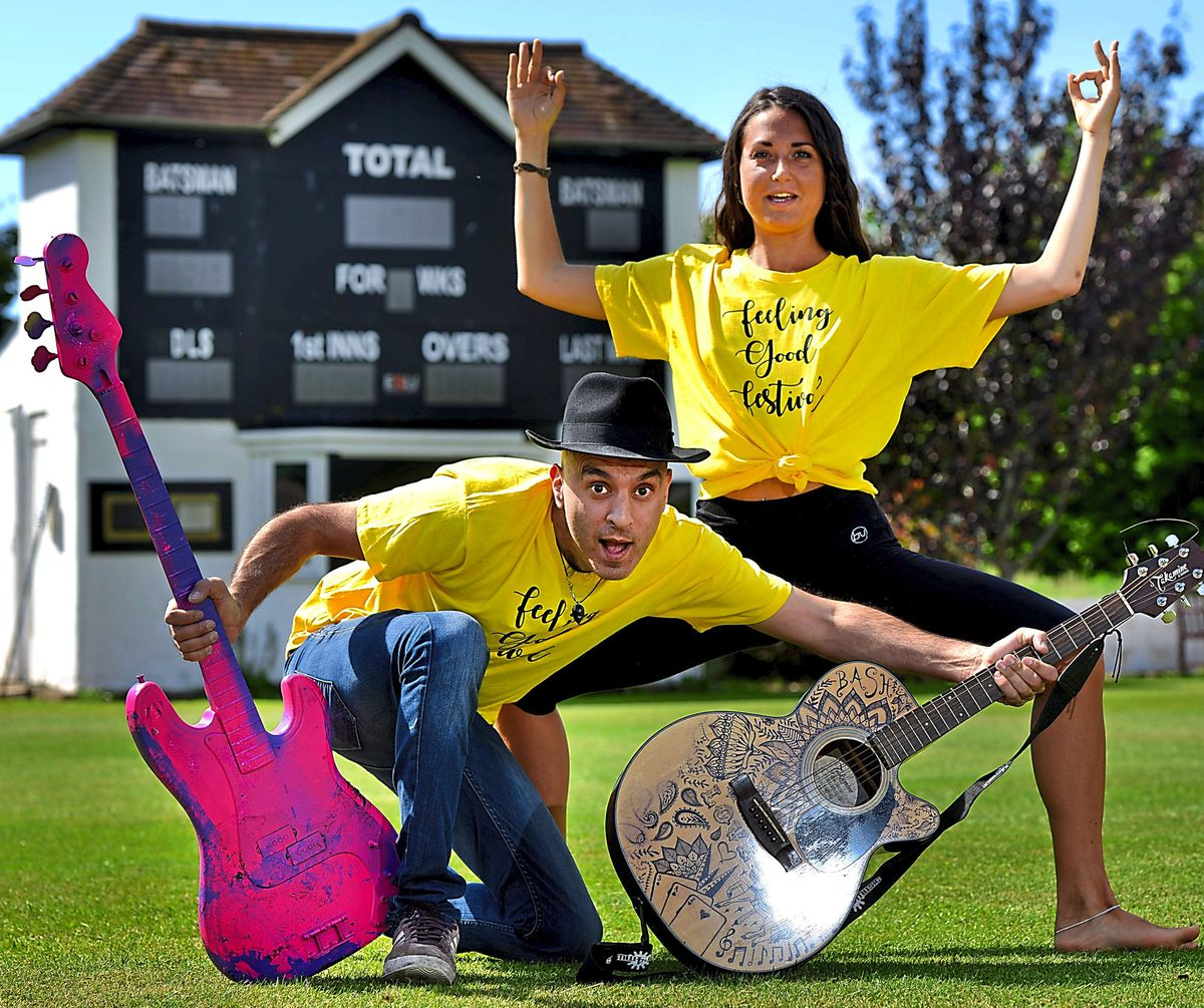 WOLVERHAMPTON COPYRIGHT EXPRESS AND STAR STEVE LEATH 07/01/2021..Pic at Wolverhampton Cricket Club (Tettenhall), where the Feel Good Festival is going to be held. Organisers: Bash and Valentina Lia gettingbin the mood. Valentina will be teaching a Yoga session..