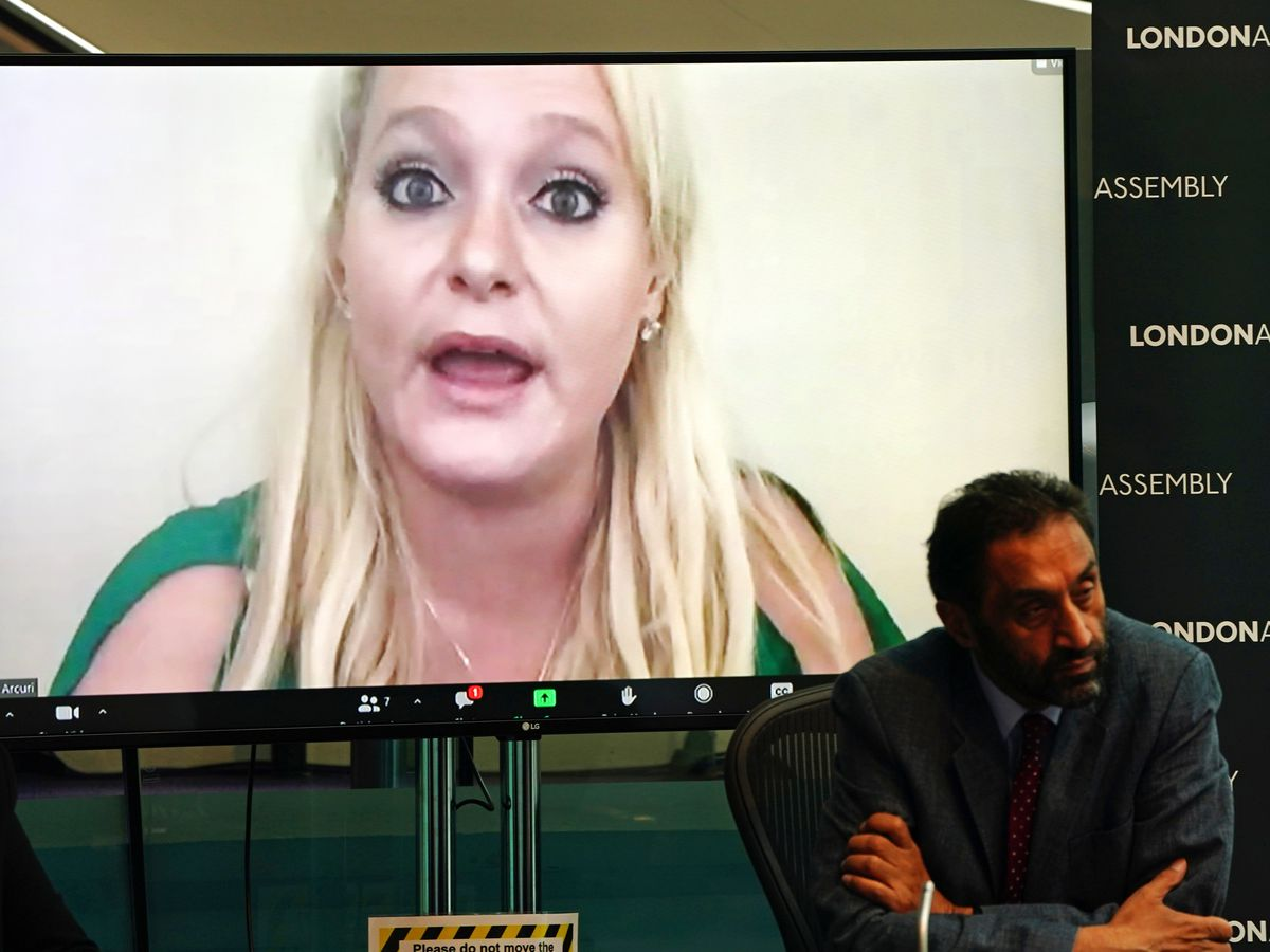 American businesswoman Jennifer Arcuri gives evidence via video link to the London assembly's oversight committee