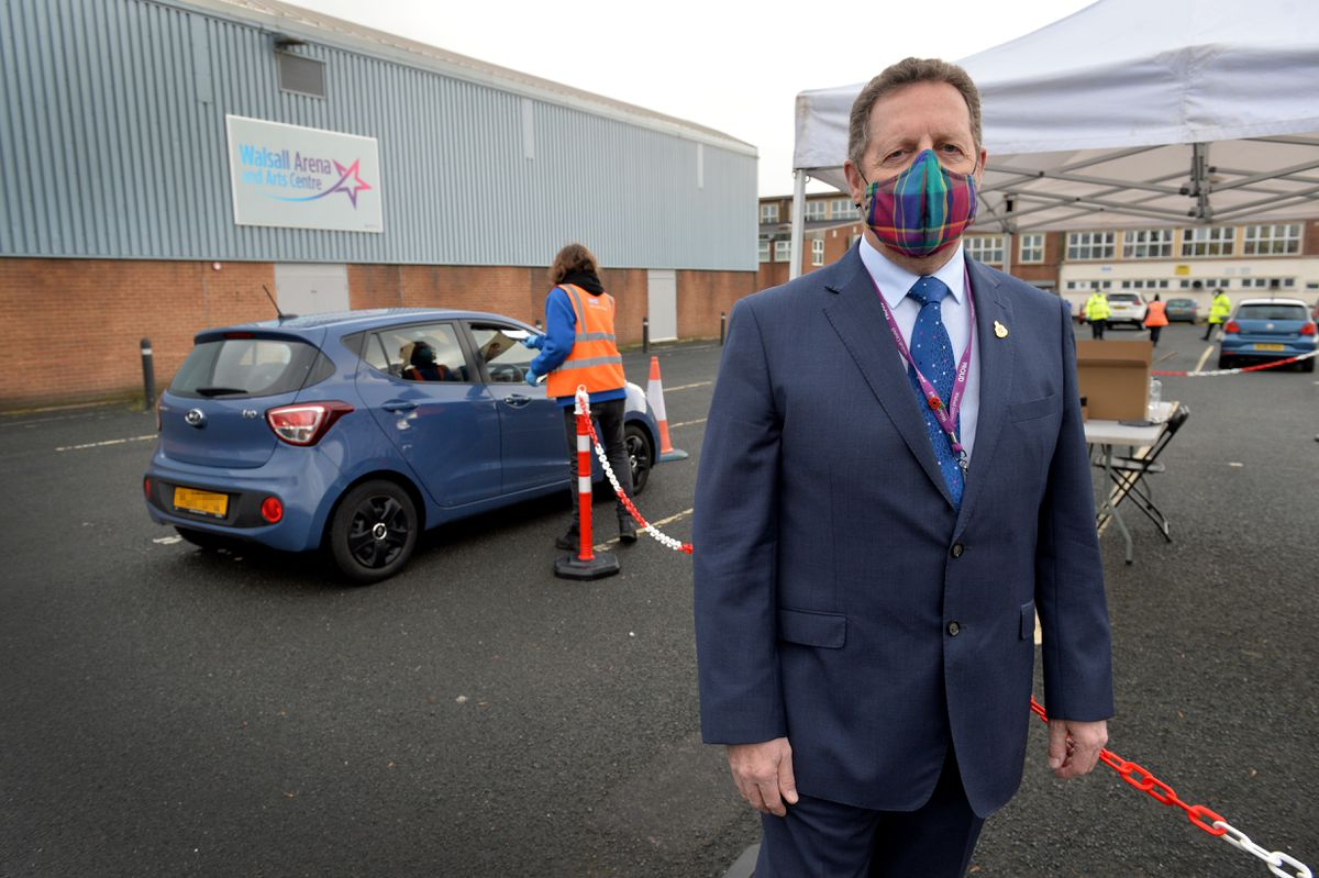 Councillor Stephen Craddock at one of the drive through test centres previously set up at Walsall Arena and Arts Centre, the former Forest arts centre, Hawbush Road