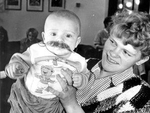 Maggie Marshall with son Ian at a theatre workshop in 1990