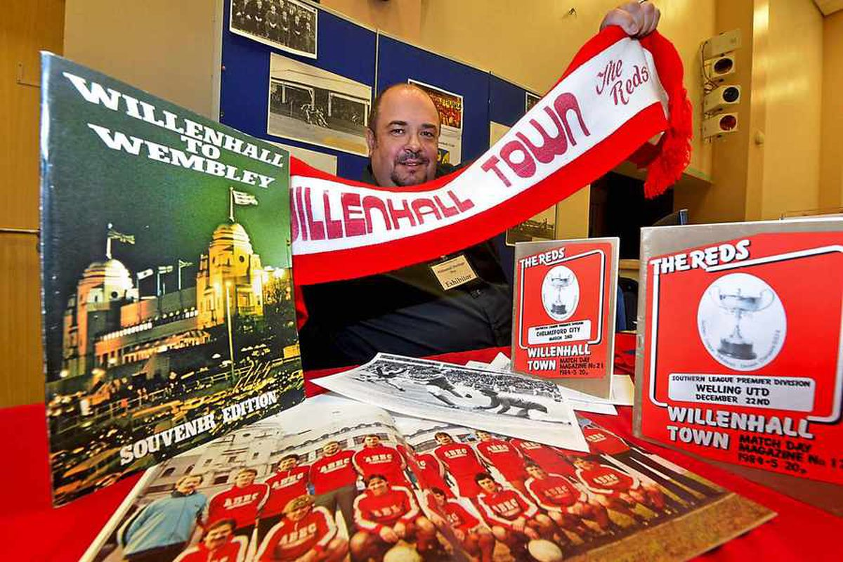 Simon Hall with some memorabilia from Willenhall Town FC's clash at Wembley in 1981