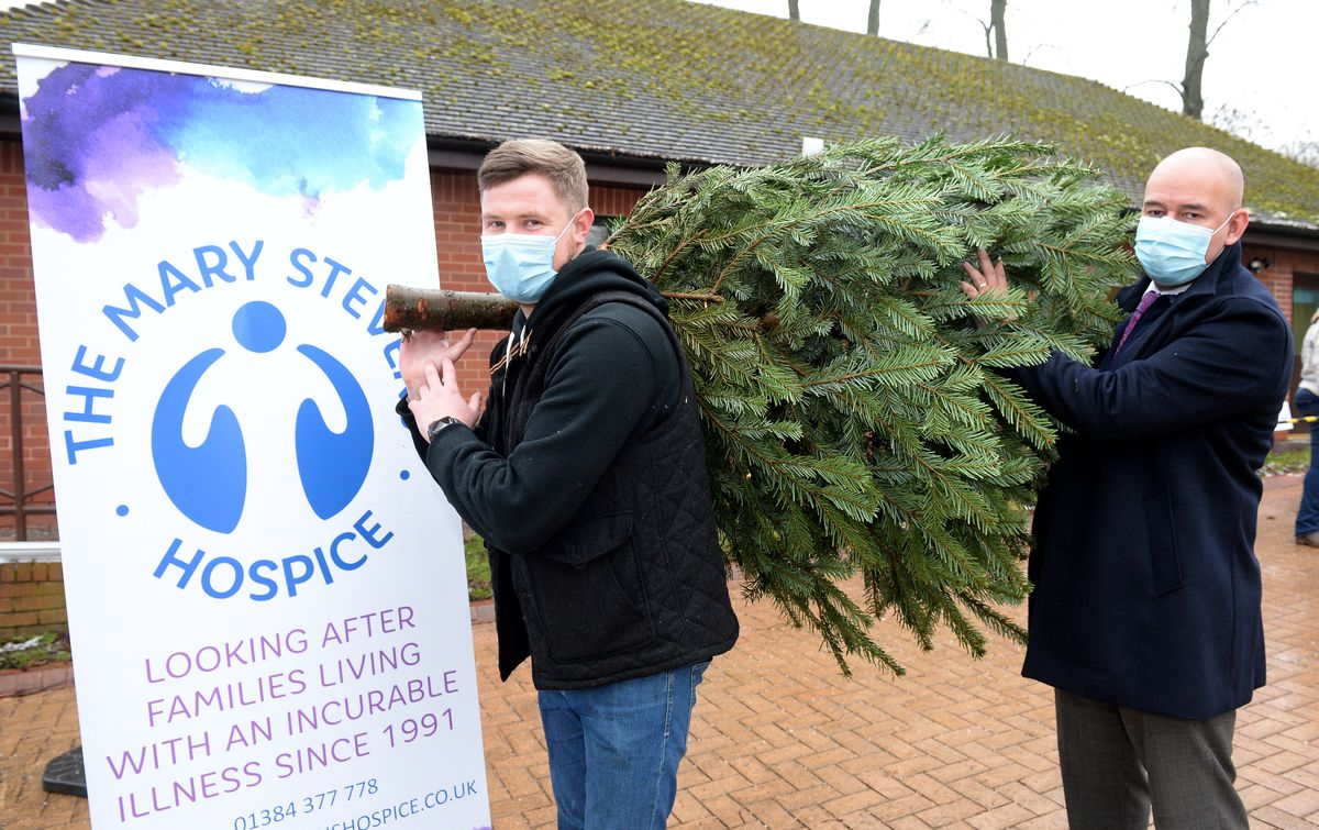 Rob Whitley, area manager of Enterprise rent-a-car, and Adrian Brooks, director at Brooks Forgings, who have supported the treecycling initiative at Mary Stevens Hospice, Stourbridge