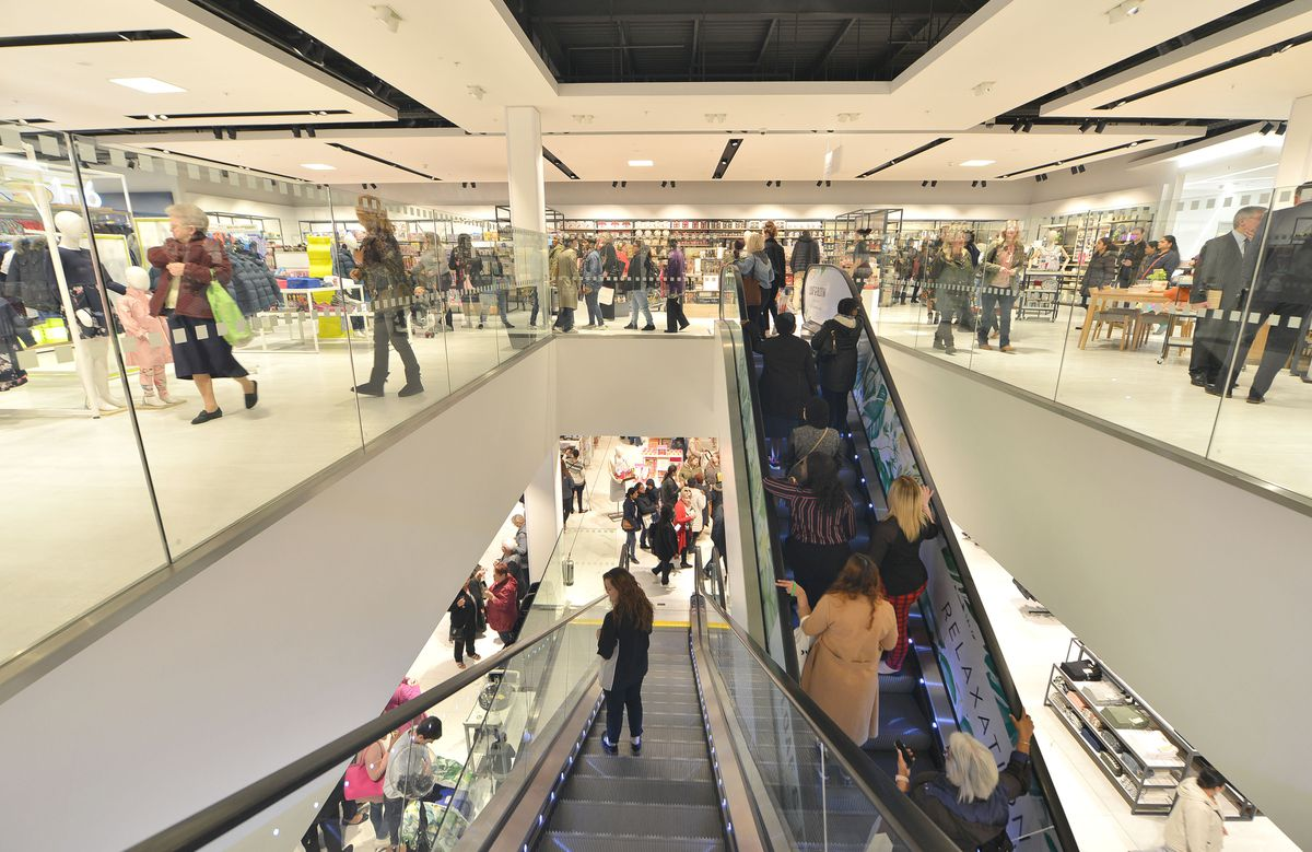 Customers enjoy the new department store