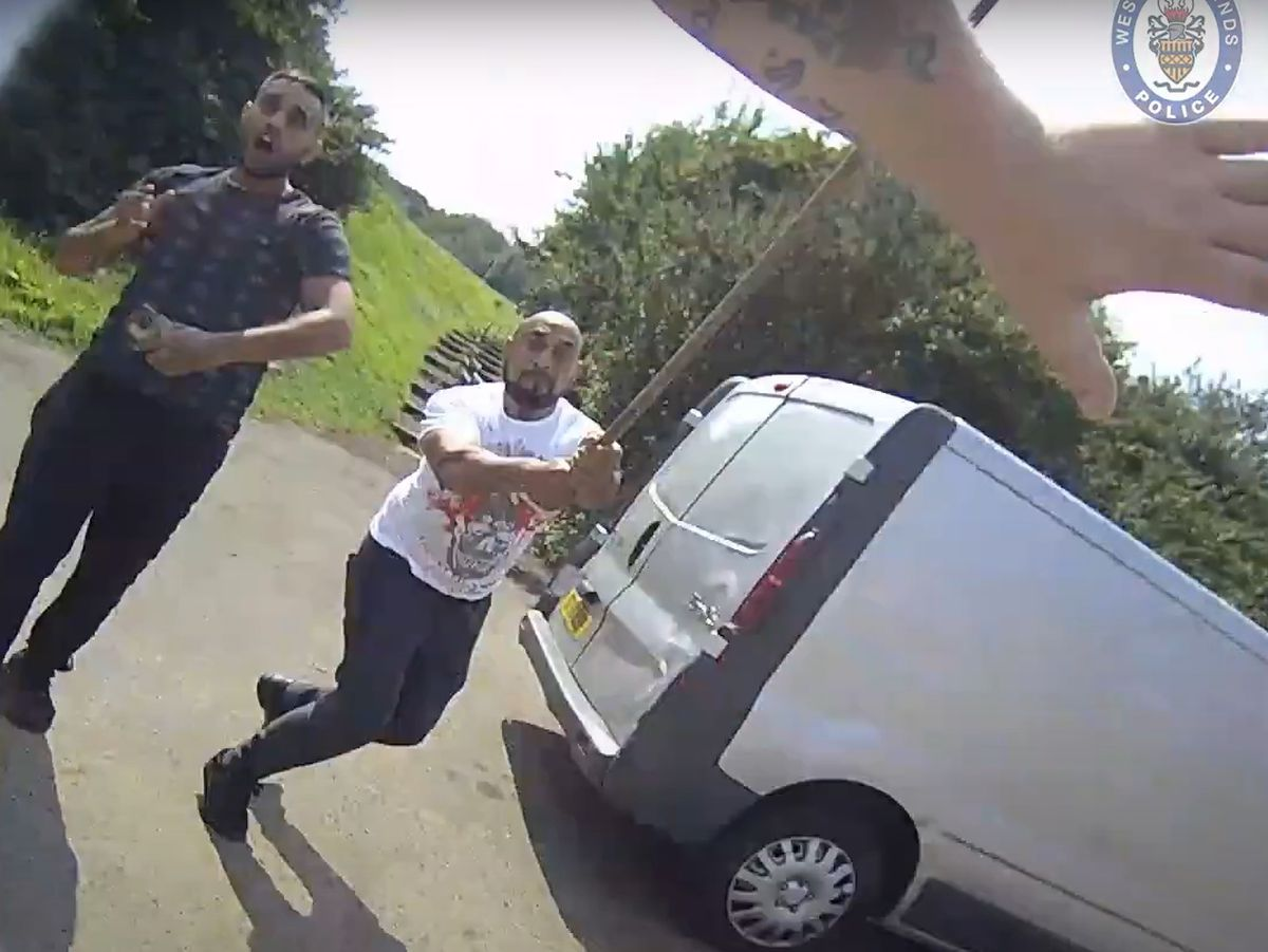 Body-cam footage shows the moment Mohammed Nawaz attacked with a pole