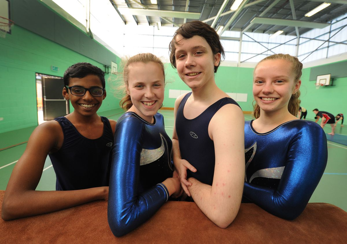 British School National Milano champions, pupils (left-right) Brientony Jeyarajan, 14, Amelia Beet, 14, Josh Dodd-Matthews, 15, and Lysia Bayley, 15, at St Edmund's Catholic Academy, Wolverhampton.