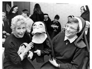 Mother Superior, Sister Joanna, on the right, with her stage counterpart Maggie Beckitt