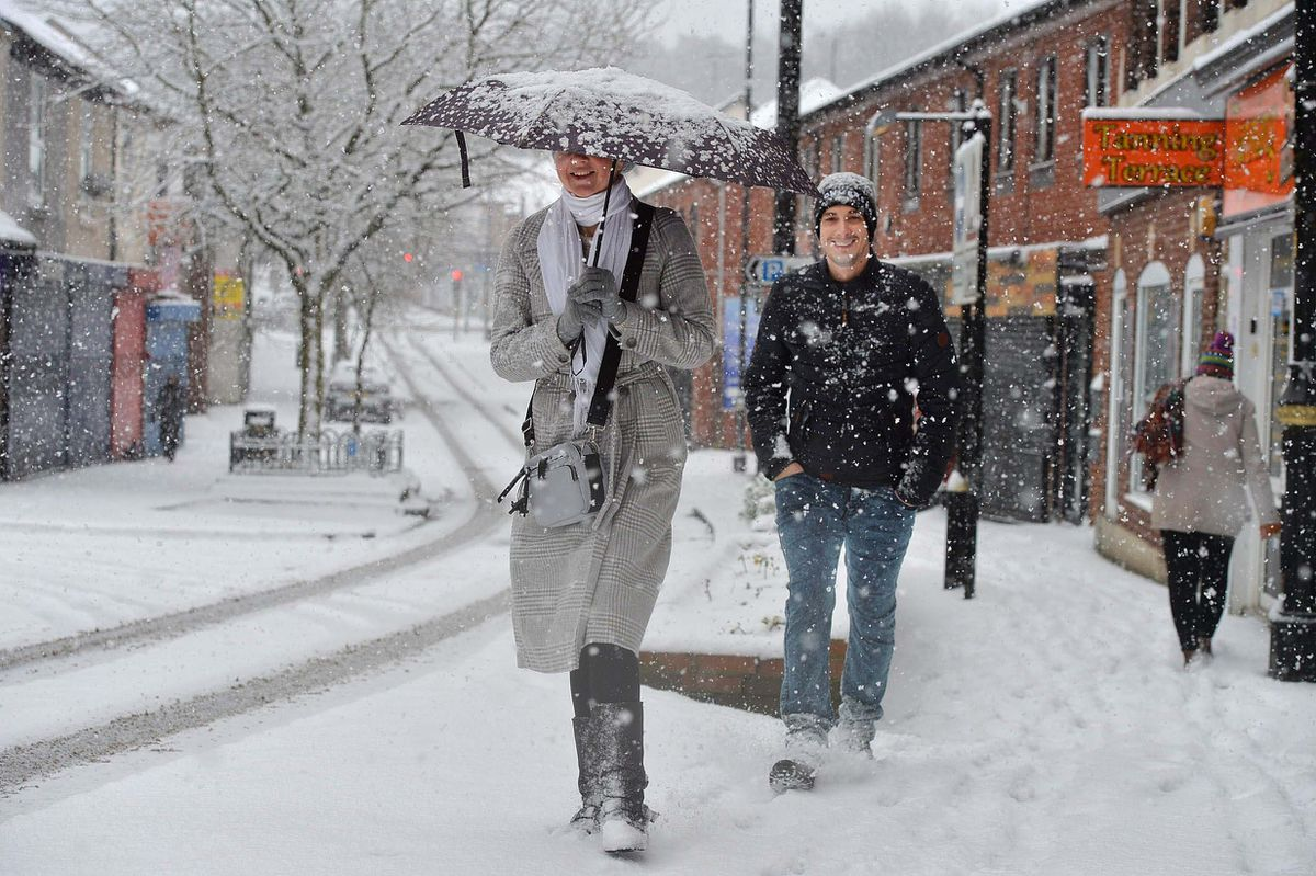 Walking in the snow in Hednesford