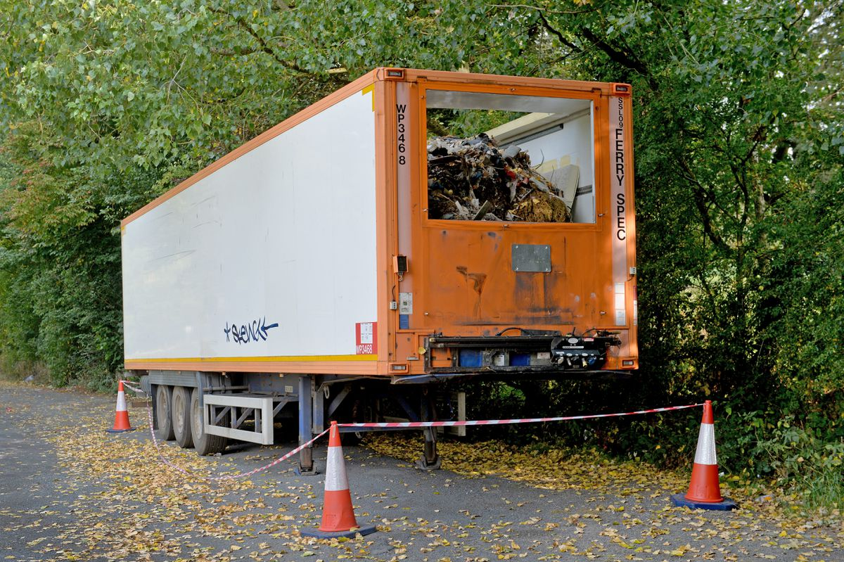 The trailers were dumped in laybys on the A491 and are full of rubbish