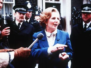 Arriving at Downing Street where she famously said a prayer attributed to St Francis of Assisi.