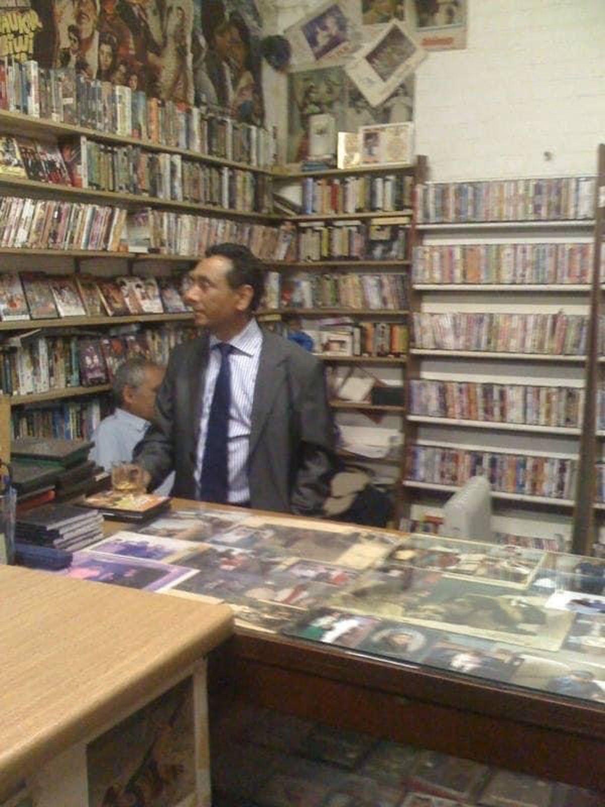 Surinder Singh Bahara at work in his video shop