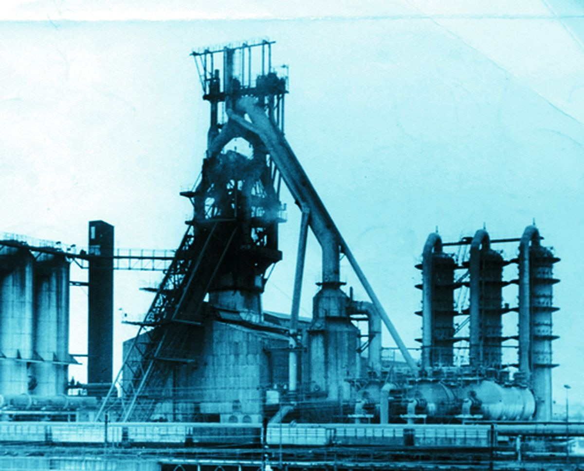 The giant Elisabeth blast furnace dominated Bilston steel works when this photograph was taken in 1959. Twenty years later, the plant would close.
