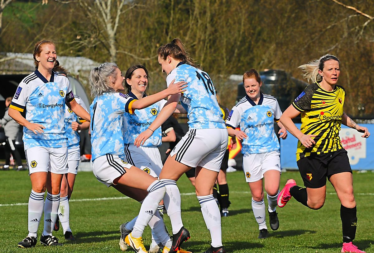Celebration time for Wolves Women after Anna Morphet had netted in the FA Cup success at Watford (Picture: Simon Faulkner)