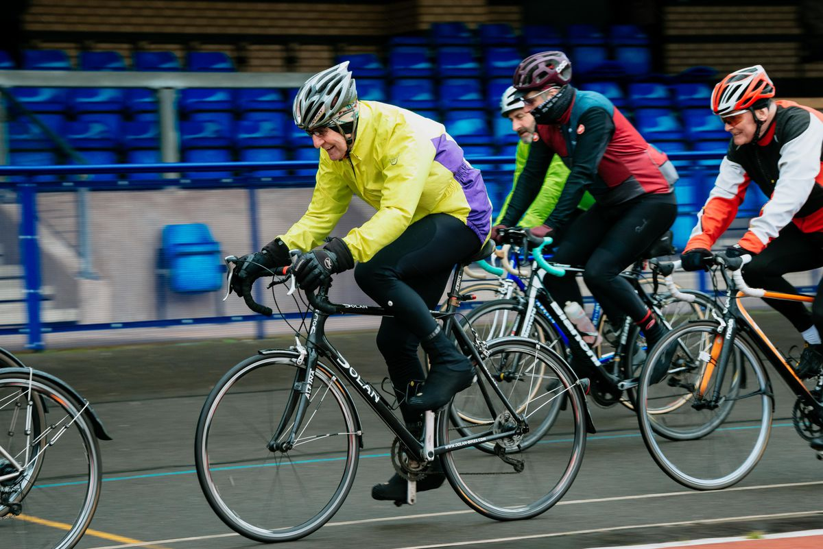 Hugh Porter, centre, has backed calls for more people to take up cycling